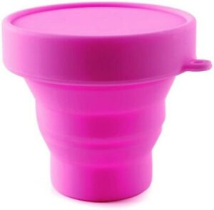 PINK Silicone Travel Cup Folding Cup Collapsible Cup 100% Food Grade (1 cup)