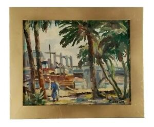 Antique Signed Mystery Early American Old Marina Industrial Coastal Oil Painting $225.00