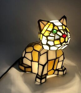 Tiffany-Style Cat Stained Glass Style Accent Lamp Bobble Head w/ Green Eyes