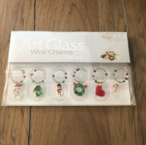 Art Glass Christmas Themed Wine Glass Charms Set of 6. New in Box