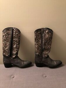 +Frye Deborah Studded Leather Western Boots, Women's Size 9M, Silver. Pre owned $35.00