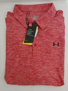 Under Armour Mens Heat Gear Loose Short Sleeve Red Golf Polo Shirt Size 2XLarge $34.99