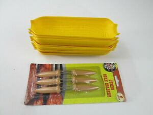 Vtg Lot of 10 Sweet Corn of the Cob Serving Dish Holder Plates Yellow Plastic