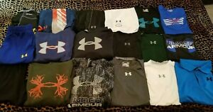 18 BOYS UNDER ARMOUR SIZE YLG SUMMER FALL 2 PANTS 4 SHORTS 8 SHIRTS 4 HOODYS $107.99
