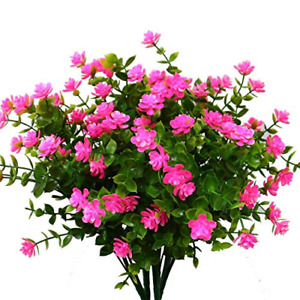 4 Pack Artificial Flowers Outdoor UV Resistant Fake Plastic Plants Hanging