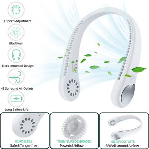 USB Rechargeable Mini Air Neck Fan Wearable Cooling Air Conditioner Portable Fan