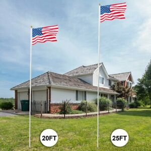20'/25' Flag Pole Aluminum Telescopic Flagpole Kit U.S Flag Ball Fly + 2US Flags