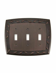 allen + roth Eastview 3-Gang Dark Oil-Rubbed Bronze Triple Toggle Wall Plate