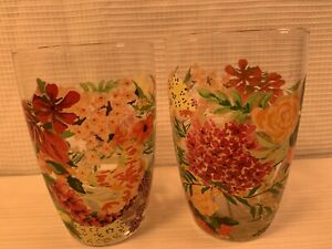 Anthropologie Floral Glass Cup Water Milk Sweet Nature New 13 Oz. Set 2
