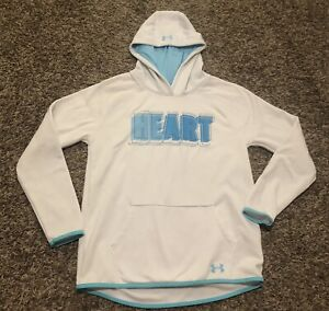 Girls Under Armour White Hoodie Hooded Sweat Shirt Clothes Size YXL 16 EUC $10.00