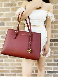 Michael Kors Jet Set Travel Brandy Large East West Leather Tote Dark Red $139.99