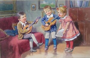 Antiquevintage fine signed original watercolor painting of kids playing music $95.00