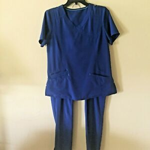 Scrub Star size small scrub top and pants set electric blue performance yoga