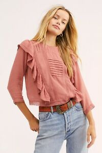 NEW FREE PEOPLE Sz XS JASMINE RUFFLE VICTORIAN LACE BLOUSE TOP SHIRT In ROSE $33.00