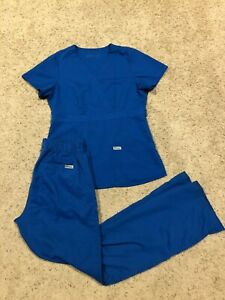 GREY#x27;S ANATOMY SCRUB SET SMALL TALL: TOP 4153 PANTS 4232T 4232 ROYAL BLUE H20