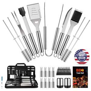 22PCS BBQ Grill Accessories Set Stainless Steel BBQ Tools Gift Camping