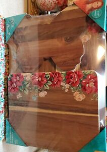 Pioneer Woman 3 Piece Acacia Cutting Board Set, VINTAGE FLORAL BUTTERFLY