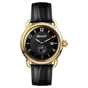 Ingersoll Men#x27;s I00802 New England Black Dial 44mm Leather Watch $49.99