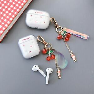 For Airpods 1amp;2 Pro Charging Case Clear Hard PC Cover Fruit Cherry Cute