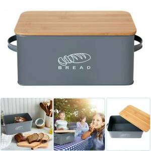 Bamboo Wood Bread Box Loaf Container Bread Bin with Lid Kitchen Food Storage Bin