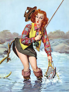 Vintage trout fishing pin up girl reproduction metal sign cabin mountain decor