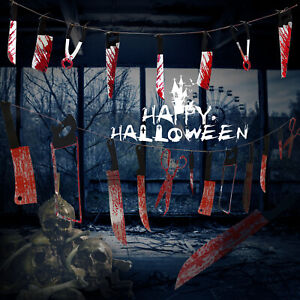 Halloween Bloody Weapon Garden Decoration Hanging Prop Knife Party Banner Scary