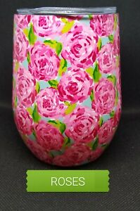 LILLY Pulitzer inspired Stemless Wine Tumbler Hotty Pinkquot; Roses NEW