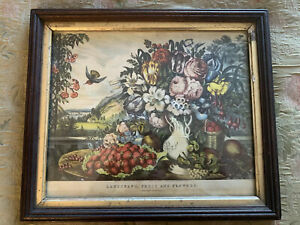 Framed Currier amp; Ives quot;Landscape Fruit and Flowersquot; 1862 Print In Period Frame $29.99