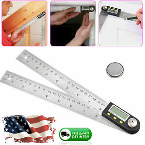 Electronic Digital Angle Finder 8quot; Protractor Ruler Stainless LCD With batteries $18.50