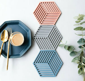 Silicone Coaster Cup Hexagon Mat Heat insulated Bowl Placemat Desktop Table Pad
