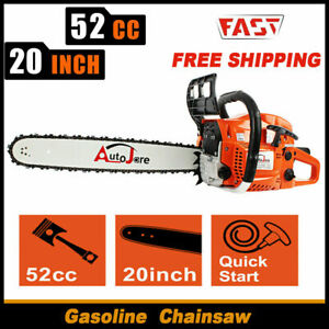 20 in Bar Gasoline Chainsaw Wood Cutting cordless petrol Tool Aluminum Crankcase $95.00