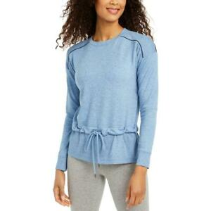 Ideology Womens Blue Tie Front Ribbed Trim Pullover Top Shirt L BHFO 7216 $3.59