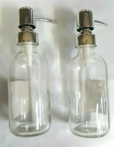 Clear Glass Soap Dispenser with Pump 8.34 OZ 2 Pack Clear Brushed $8.99