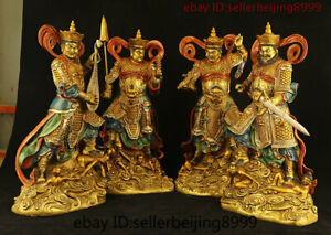 Collect Chinese Bronze Painting 4 Great Heavenly Kings immortals God Statue Set $1579.20