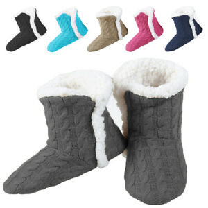 Yelete Womens Cable Knit Slippers House Booties Soft Sherpa Lining Rubber Soles $14.99