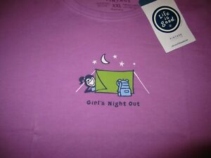LIFE IS GOOD Camping Tent Girls Night Out SS TShirt NWT Womens Size XXL 2XL