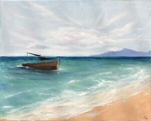 Boat Painting Seascape Original Art Ca Nautical Canvas Artwork 16 by 20 in $85.00