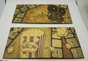 Home Theater Metal Signs 2 for Movie Room Man Cave Popcorn Action Displays