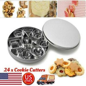 24pcs Shape Stainless Steel Food Cookie Cutter Set Cookie Mold Chopper Cutter US $12.46