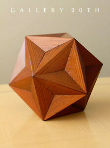 WOW GREAT DODECAHEDRON SCULPTURE WOOD ART ABSTRACT GOLDEN MEAN PENTAGRAM DECOR $1080.00