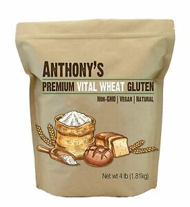 Vital Wheat Gluten Powder by Anthony#x27;s High in Protein 4lb 4 Pound Resealable