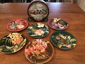 *NEW amp; RARE* TOMMY BAHAMA Set of SIX Tropical Floral Cocktail Plates w Napkins