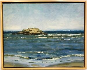 COLIN PAGE 20th 21st c. American COASTAL SEASCAPE PAINTING Camden Maine Artist $695.00