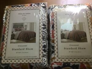 ELISE amp; JAMES HOME NEW STANDARD QUILTED PILLOW SHAMS PAIR