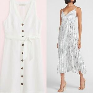 Express Wrap Polka Dot Pleated Dress.Two White Dresses. Buy One Get One Free