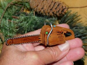 Cottonwood Bark Small Chainsaw Wood Carving Rustic Mountain Chain Saw Miniature $25.95
