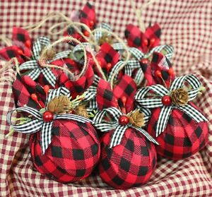 Buffalo Plaid Christmas Ornaments Set Of 8 Black And Red Pine Cones Berries