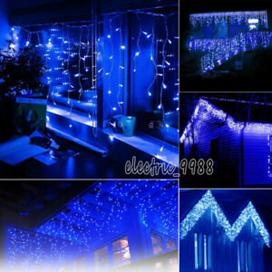 52FT 16M 384 LED Icicle Curtain String Fairy Snowing Light Christmas Tree Decor