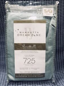 New Wamsutta Dream Zone 725TC Standard Queen Pillow Cases 2 Aqua