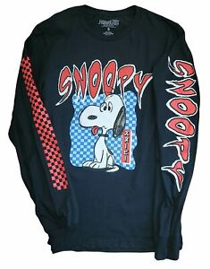 New Men#x27;s Peanuts Snoopy Retro Vintage Long Sleeve Black Cartoon T Shirt Tee $19.99